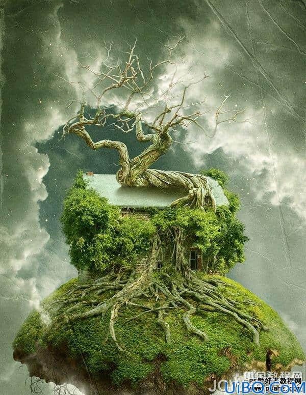 photoshop创意合成飘浮在空中的树屋特效教程