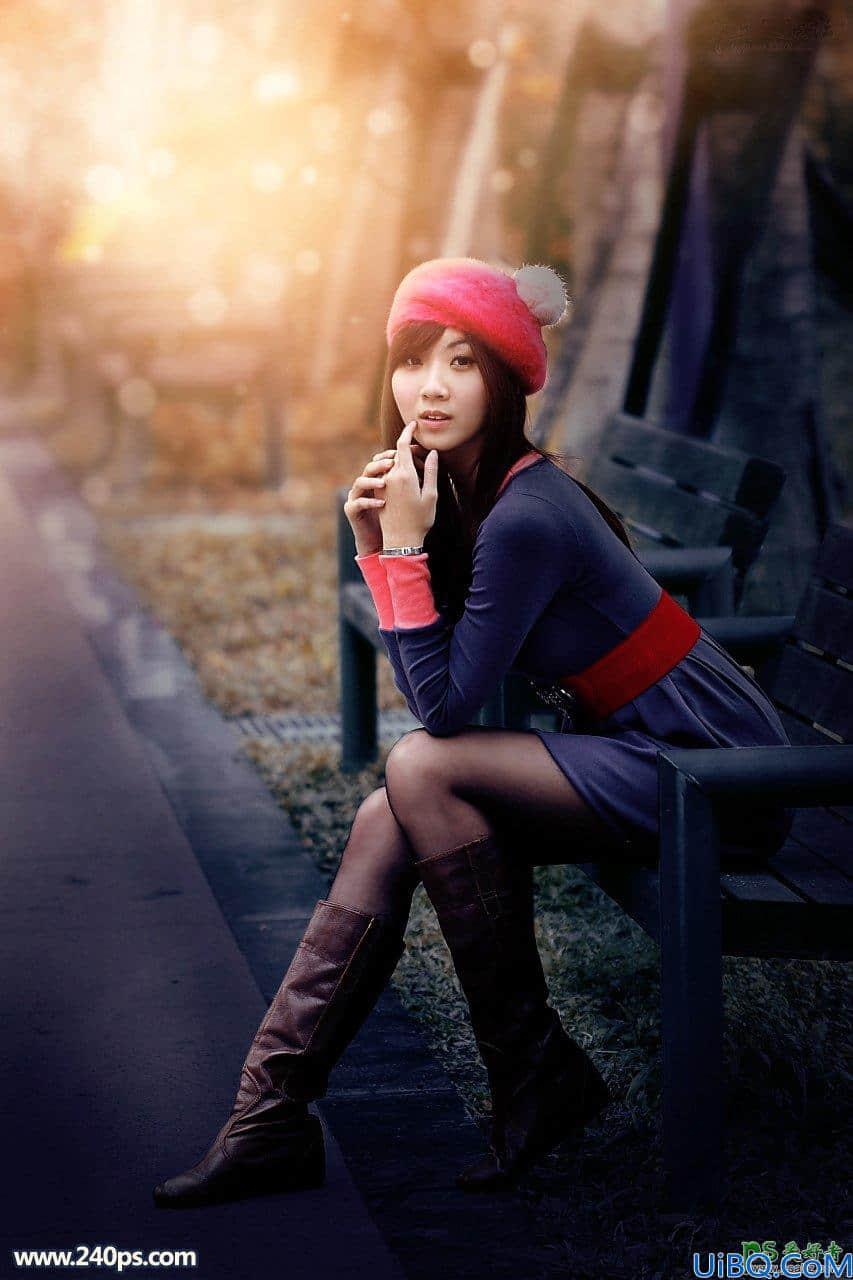 Photoshop女生照片调色:给原味黑丝美腿女生写真照调出唯美秋季暖色效果