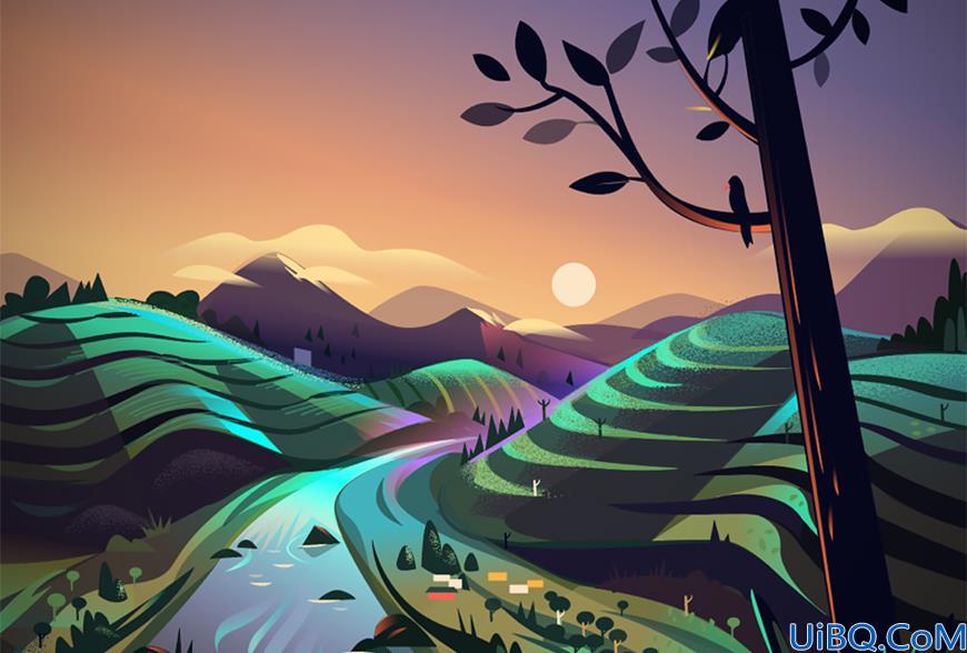 Ai+Photoshop教程!教你绘制扁平化山林场景噪点插画
