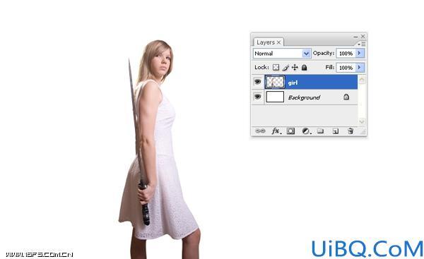 Photoshop合成手拿长剑的英雄女孩魔幻场景教