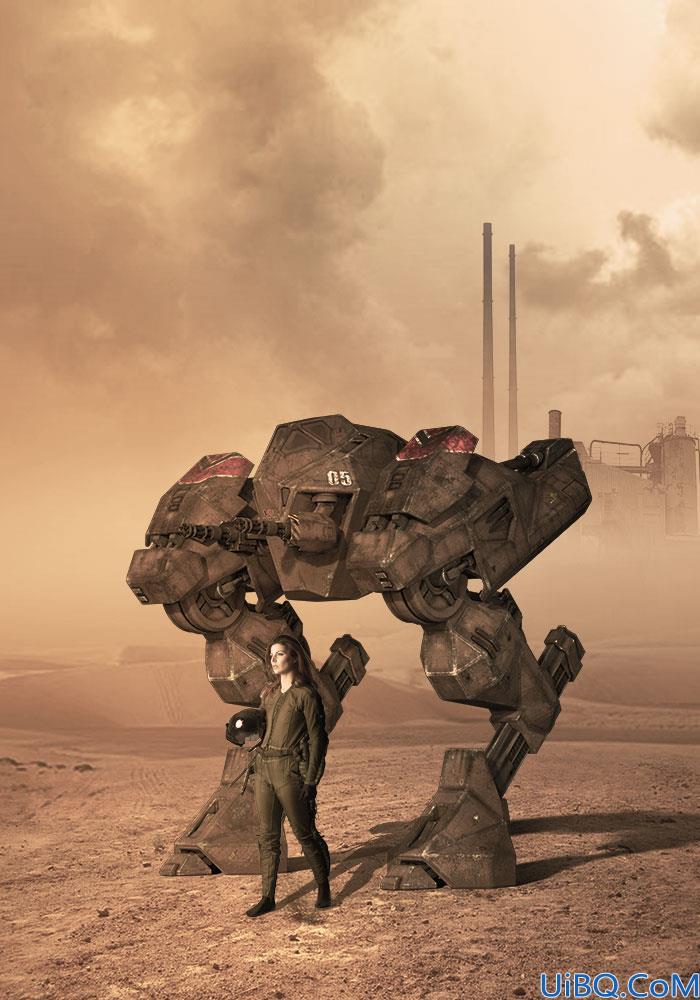 Photoshop创意合成美女与机器人的场景,机甲战争电影海报。