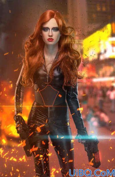 Photoshop海报合成教程:创意打造超炫的美女英雄枪战电影海报。