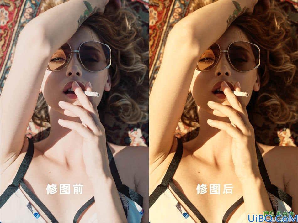 Photoshop美女图片调色:给外景外景的美女人像调出金黄色皮肤效果。