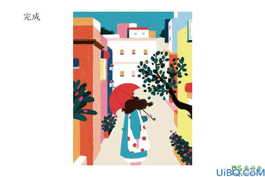Photoshop手绘扁平插画海报,街头插画图片,时尚街景插画海报制作教程。
