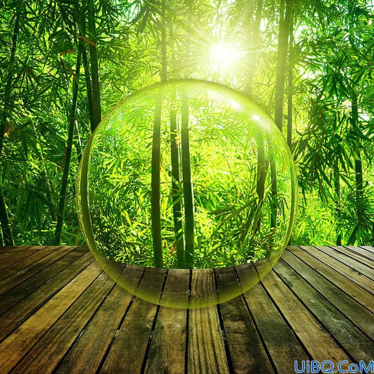 Photoshop基础教程:学习制作一个风景水晶球效果图,微距效果风景图片。