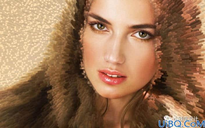 Photoshop人像特效教程:利用凸出滤镜给美女人物头像打造科技感特效。