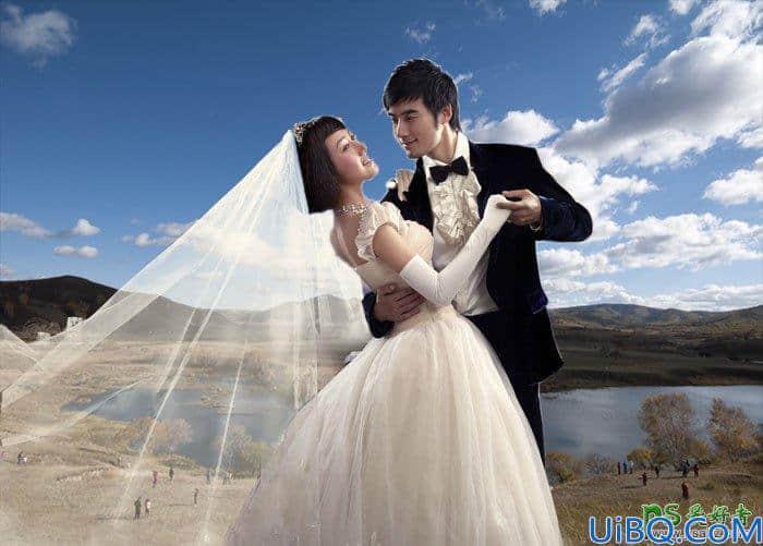 利用photoshop通道工具抠出半透明效果的情侣婚纱照。