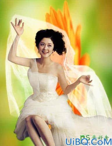Photoshop婚纱照抠图教程:给复杂背景中的美女婚纱照抠图更换漂亮的背景