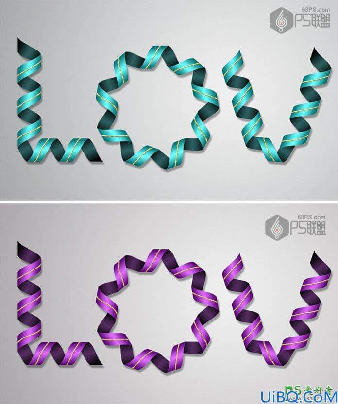 photoshop设计个性的丝带文字,丝带线条艺术字,丝带字。