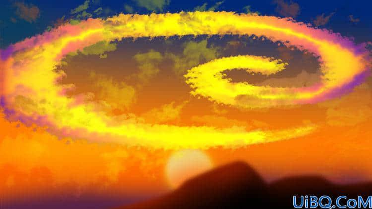 学习用Photoshop手绘技术制作夕阳螺旋祥云素材图,螺旋效果火烧云彩。