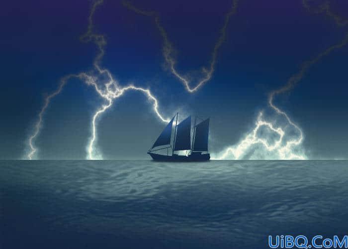 Photoshop手绘教程:制作暴风雨天气海上漂流的小船风景图。
