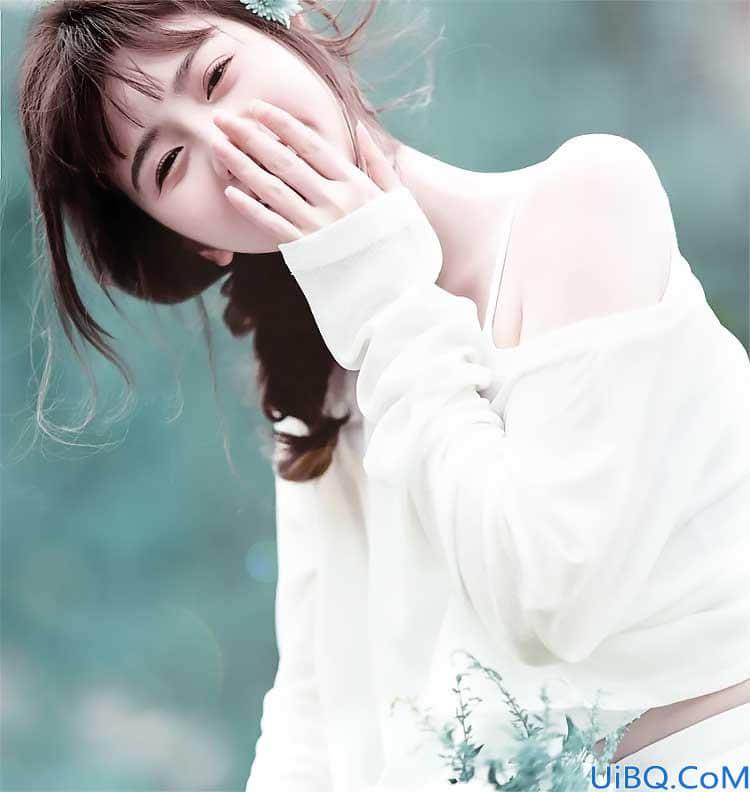 Photoshop女生照片调色教程:给清纯美丽的小姐姐写真照调出淡雅的绿色。