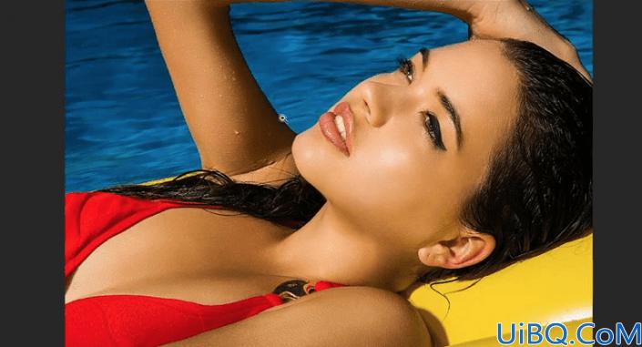 人像修图,给泳池女孩打造精致古铜色质感肌肤