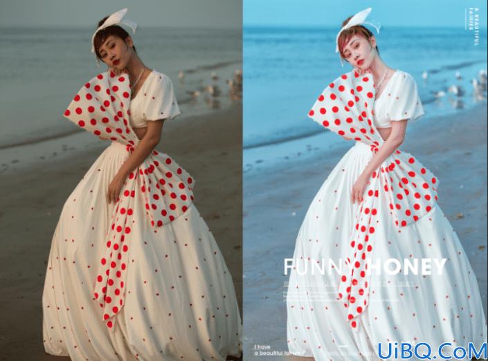 海边照片,制作海报蓝色唯美人物照片