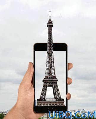 出屏效果,制作铁塔钻出手机屏幕的出屏效果