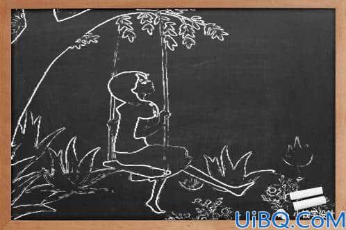 铅笔画,制作简约黑板铅笔画效果图