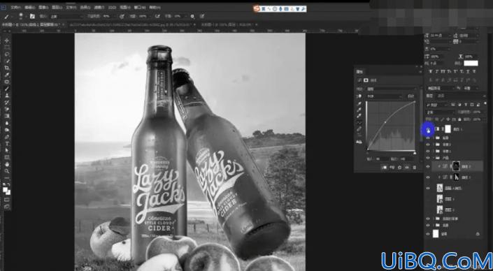 创意合成,合成夏日清凉感啤酒瓶
