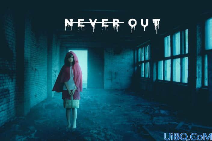 奇幻合成,合成小女孩在恐怖密室场景的照片