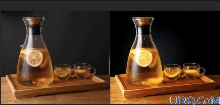食品美工,给柠檬茶水进行精修调色