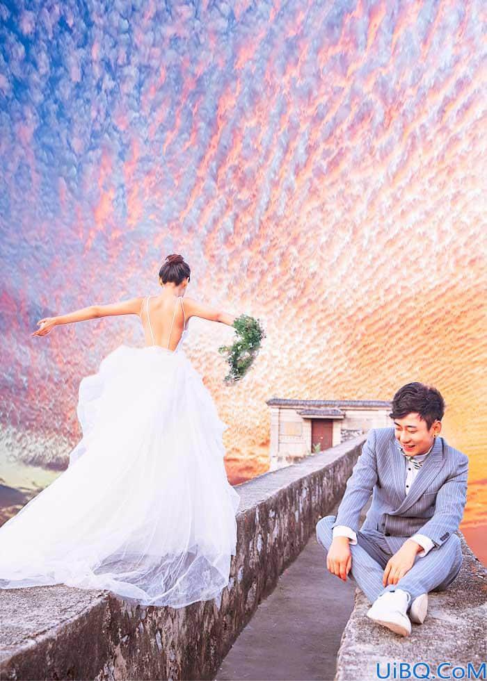 Photoshop调色教程:给户外婚纱情侣照调出一个云海天空效果。