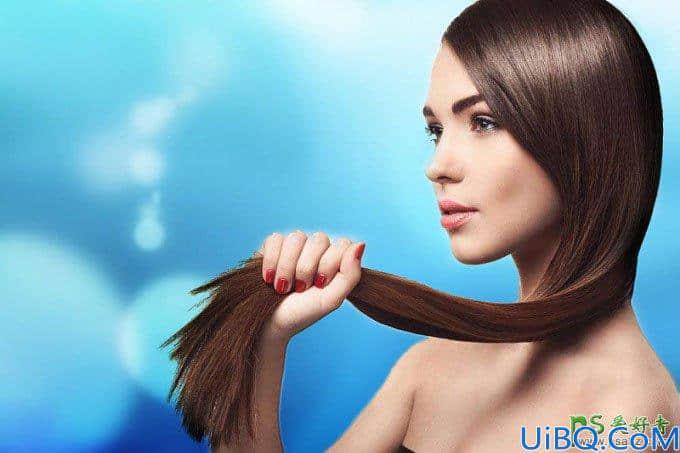 Photoshop扣发丝教程:利用图层样式混合选项抠出美女飘逸的长头发。