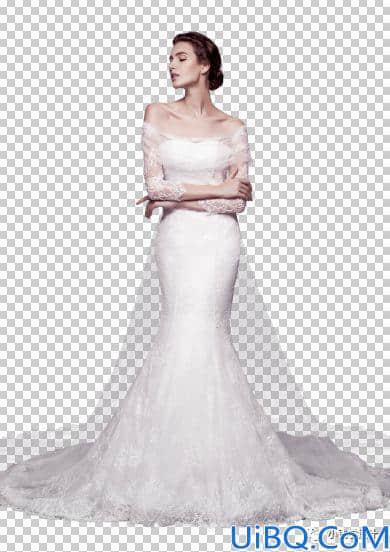 Photoshop抠婚纱教程:利用通道工具给修长美女婚纱照快速抠图。