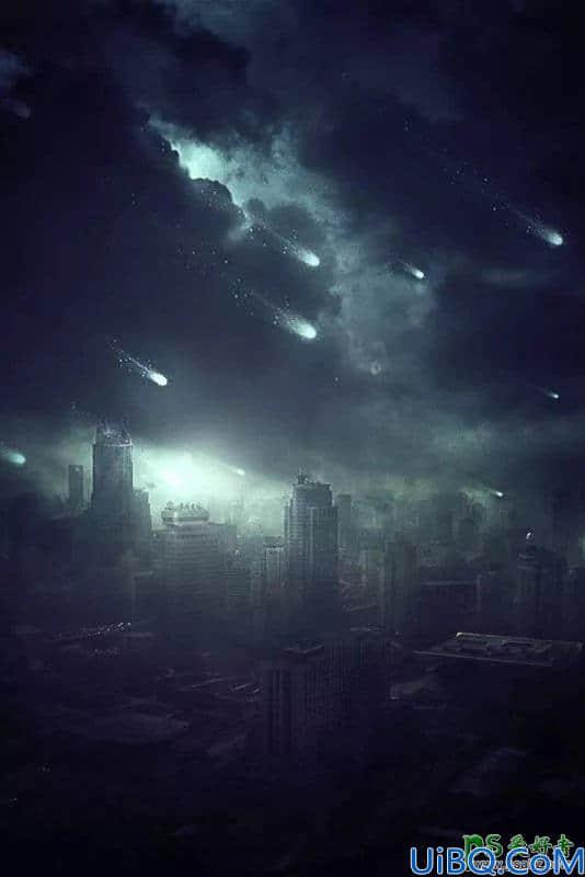 Photoshop创意合成灾难电影中流星袭击城市的场景。