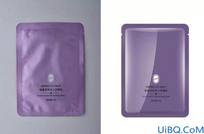 产品修图,给袋装面膜进行精细修图