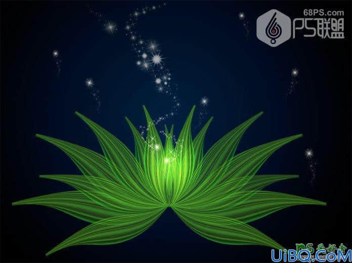 Photoshop花朵绘制教程:打造一个漂亮的绿色荧光花朵失量图素材