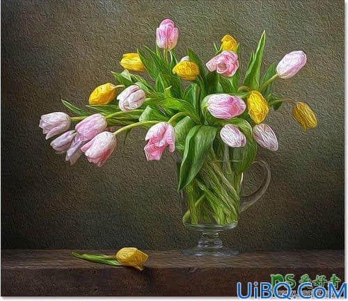 学习用Photoshop油画滤镜工具给花卉图片制作出漂亮质感的油画效果。